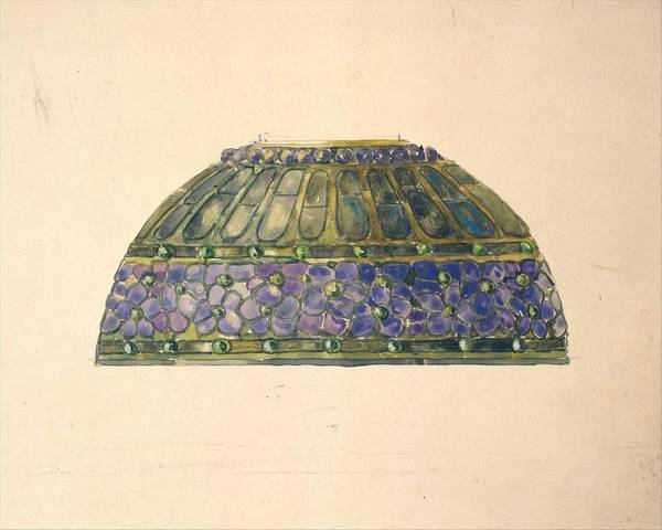 Car Art Print featuring the painting Design For Floral Lamp Louis Comfort Tiffany American, New York 1848-1933 New York by Louis Comfort Tiffany