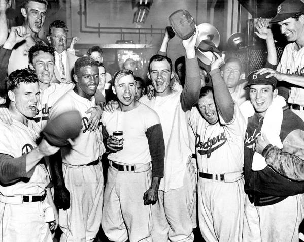 Horizontal Art Print featuring the photograph Dodgers Celebrate In The Clubhouse by New York Daily News Archive