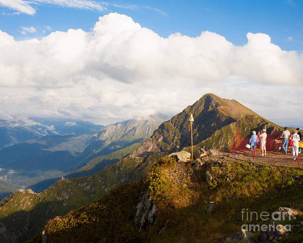 Altitude Art Print featuring the photograph Group Of Tourists On Mountain Top In by Olesya Turchuk