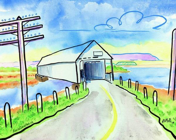 Old Covered Bridge Art Print featuring the painting Old Covered Bridge - Avonport N.s. by Kevin Cameron