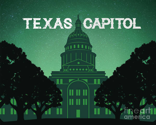 Texas State Capitol Art Print featuring the digital art Texas State Capitol by Austin Bat Tours