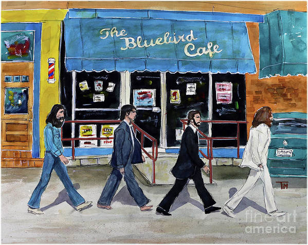 The Bluebird Cafe Art Print featuring the painting This Is For You Blue by Tim Ross