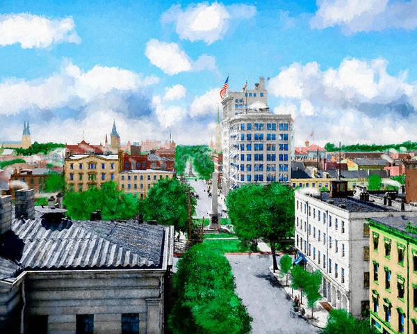 Savannah Art Print featuring the digital art Vintage Savannah Georgia View Over Johnson Square by Mark E Tisdale