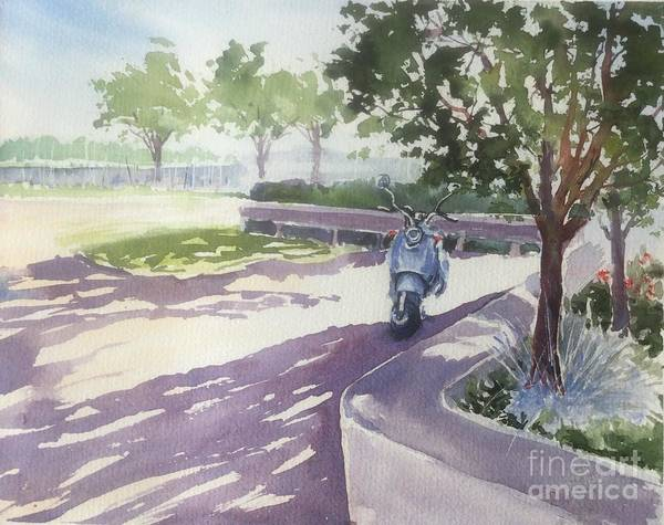Shady Spot In Zuanich Park Art Print featuring the painting Shady Spot by Yohana Knobloch