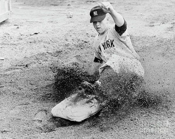 Dust Art Print featuring the photograph Mickey Mantle by National Baseball Hall Of Fame Library