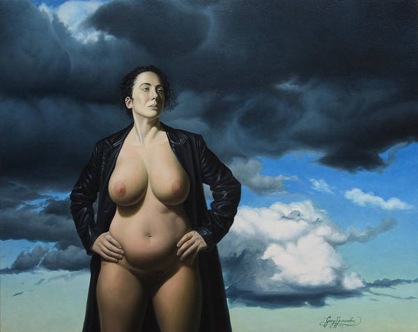 Female Nude Art Print featuring the painting Just A Girl A Coat And Some Clouds by Gary Hernandez
