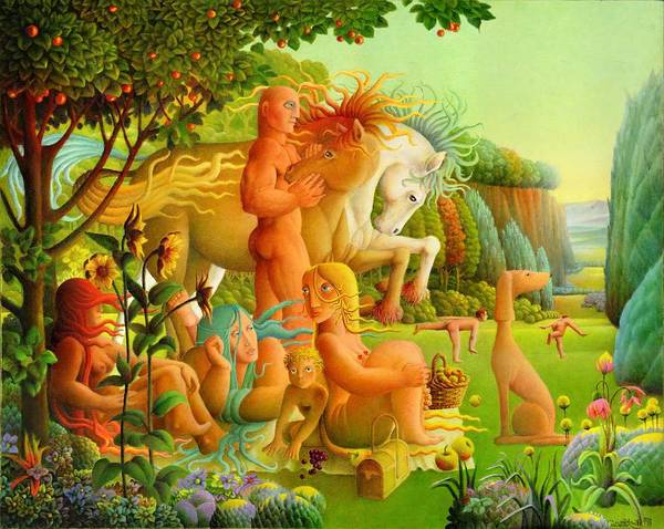 2004 Art Print featuring the painting Picnic by Giuseppe Mariotti