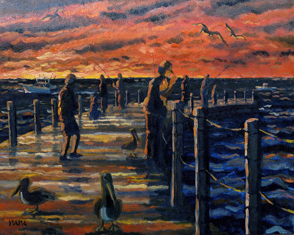 Sunrise Art Print featuring the painting Sunrise At The Inlet by Ralph Papa