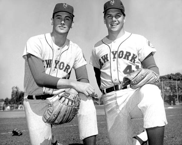 Tom Seaver Art Print featuring the photograph Tom Seaver And Nolan Ryan by New York Daily News Archive