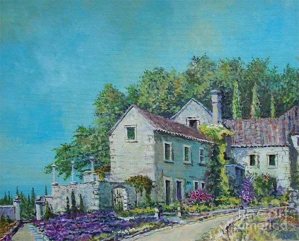 Original Painting Art Print featuring the painting Village Vista by Sinisa Saratlic