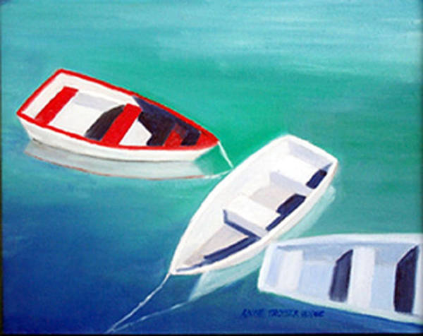 Seascape Art Print featuring the print Boat Trio by Anne Trotter Hodge