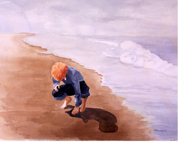 Family Art Print featuring the painting Boy On The Beach by Robert Thomaston