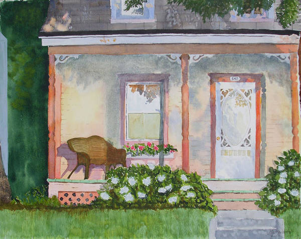 House Art Print featuring the painting Grandma's Front Porch by Ally Benbrook