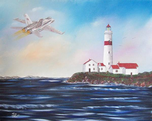 Seascape Art Print featuring the painting Lighthouse Fly By by Tony Rodriguez