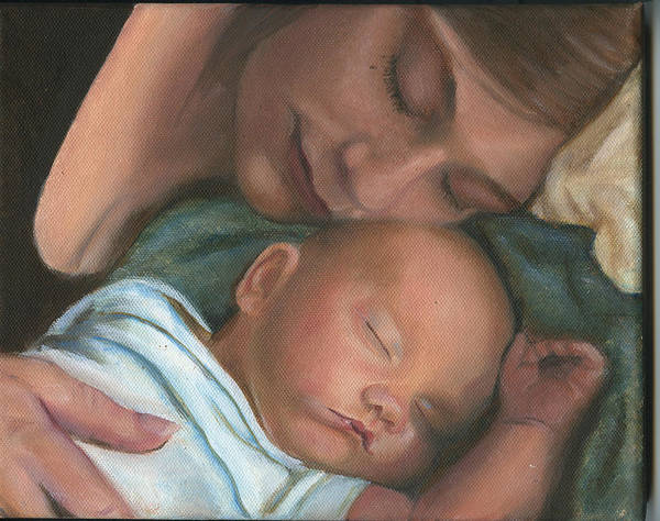Mother Art Print featuring the painting Mother And Son by Sandra Butler
