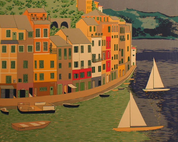 Harbor Art Print featuring the painting pORTOFINO by Biagio Civale