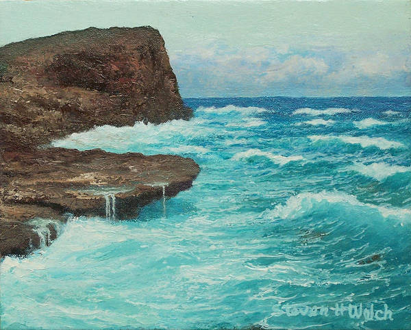 Hawaii Seascape Art Print featuring the painting Rocky Point by Steven Welch