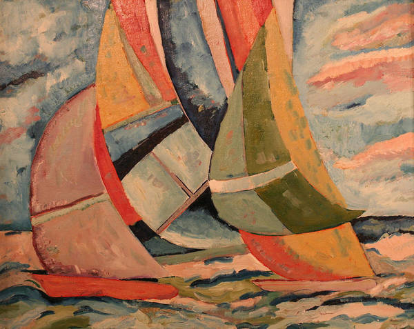 Art Print featuring the painting Sailboats by Biagio Civale