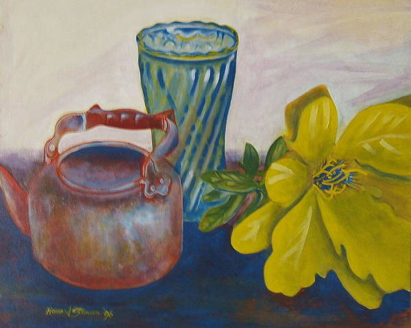 Still Life Arrangement Sold Art Print featuring the painting Still Life With Plastic Flower by Howard Stroman