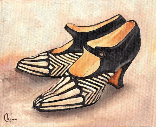 Shoe Painting Art Print featuring the painting Deco Darlings by Cecely Bloom