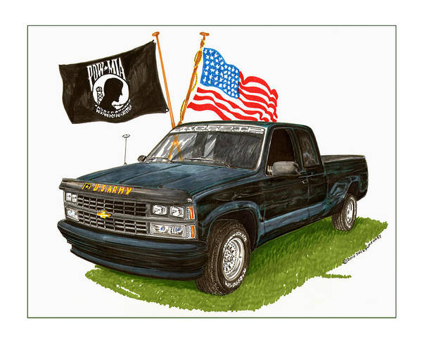 1988 Chevrolet Silverado Missing In Action Tribute Art Print featuring the painting 1988 Chevrolet M I A Tribute by Jack Pumphrey