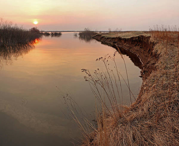 Area Art Print featuring the photograph Sunset River Panorama by Vitaliy Gladkiy