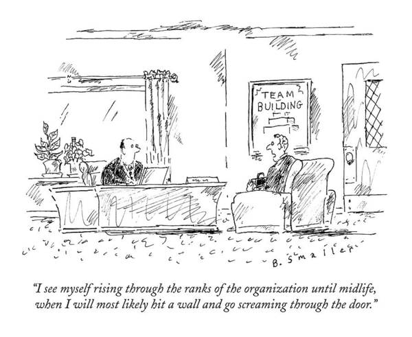 #condenastnewyorkercartoon Art Print featuring the drawing A Man Interviews For A Job by Barbara Smaller