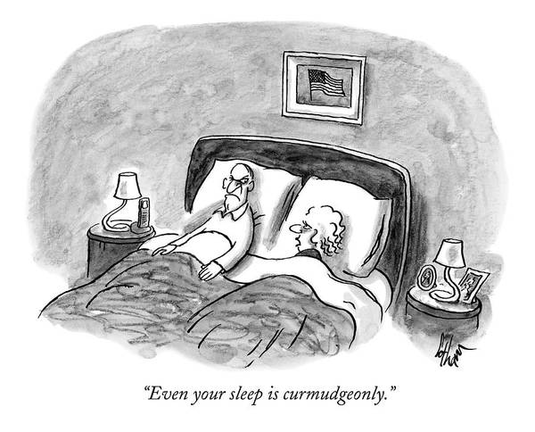 Stubborn Art Print featuring the drawing A Married Couple Talks In Bed by Frank Cotham