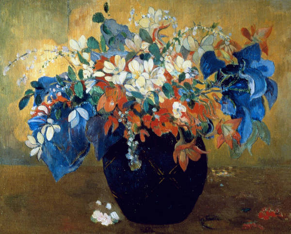 Still-life Art Print featuring the painting A Vase Of Flowers by Paul Gauguin