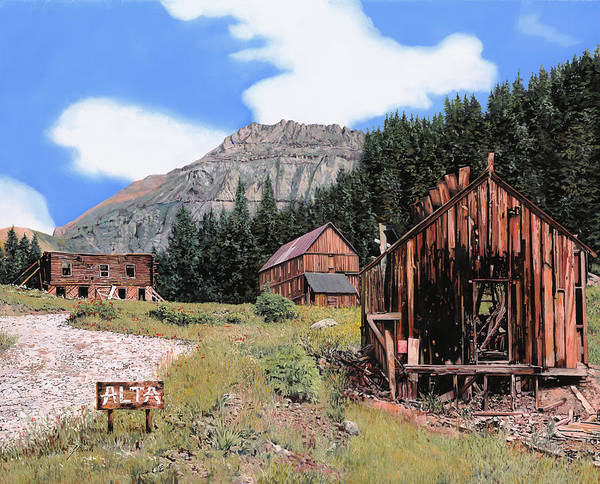 Ghost Town Print featuring the painting Alta In Colorado by Guido Borelli