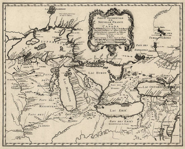 Antique Map Of The Great Lakes By Jacques Nicolas Bellin