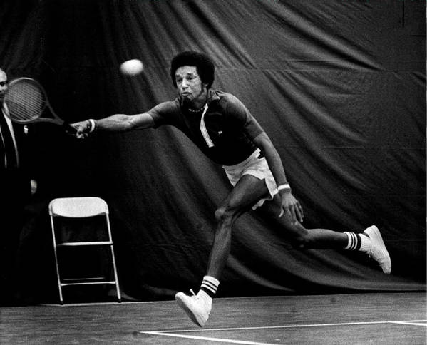 Retro Images Archive Print featuring the photograph Arthur Ashe Returning Tennis Ball by Retro Images Archive