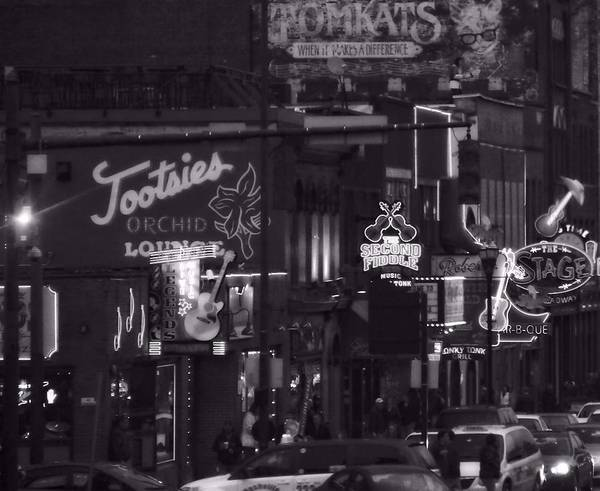 Bars On Broadway Nashville Print featuring the photograph Bars On Broadway Nashville by Dan Sproul