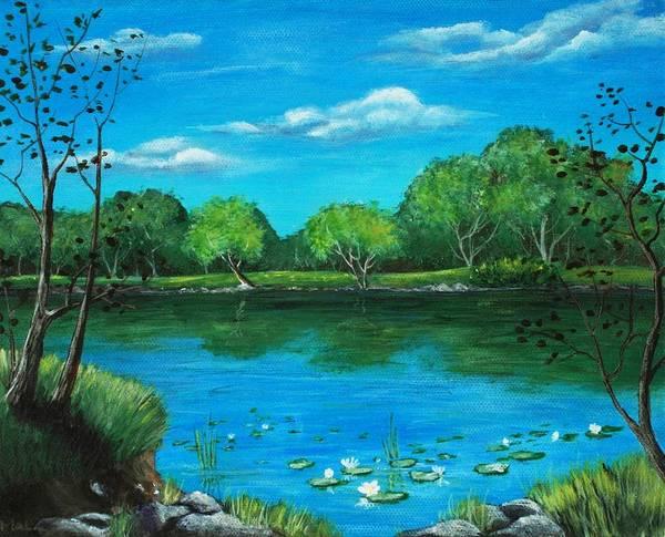 Calm Art Print featuring the painting Blue Lake by Anastasiya Malakhova
