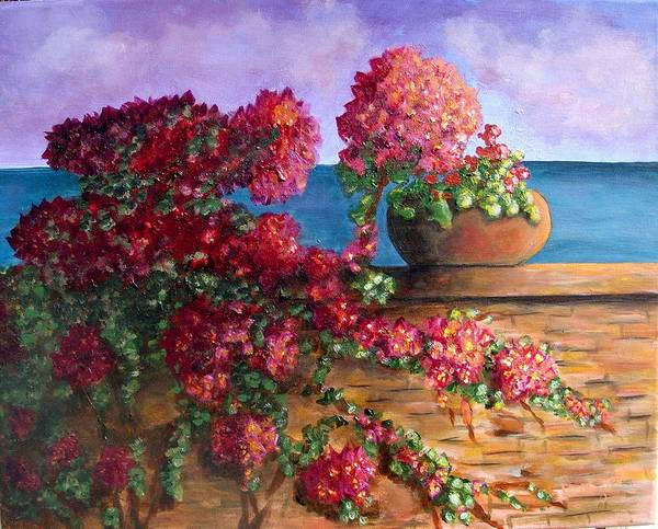 Bougainvillea Art Print featuring the painting Bountiful Bougainvillea by Laurie Morgan