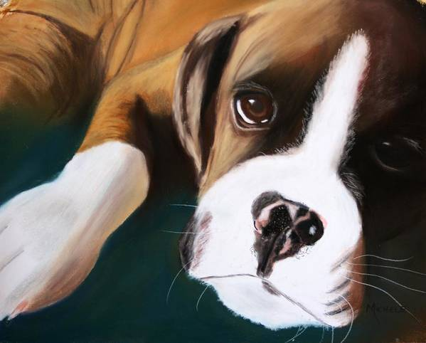 Dogs Art Print featuring the pastel Boxer by Michele Turney