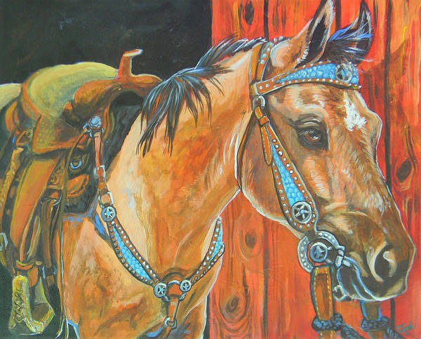 Horse Art Print featuring the painting Buckskin Filly by Jenn Cunningham