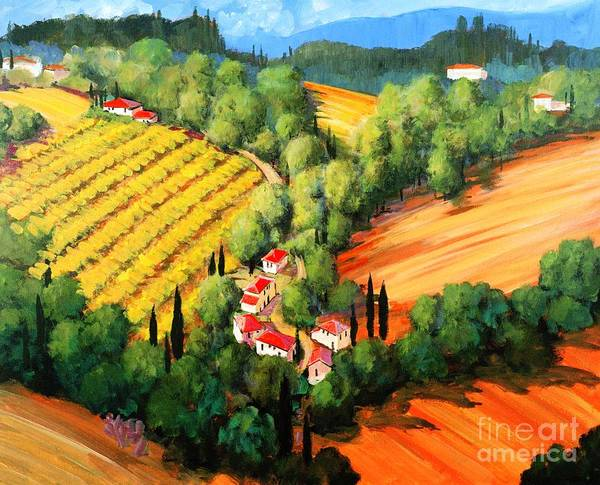Chianti Landscape Art Print featuring the painting Chianti Road by Michael Swanson