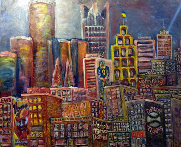 Print featuring the painting Cityscape 9 by Don Thibodeaux