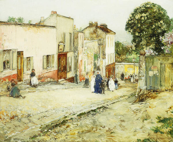 African-american; American Impressionism;impressionist; Attire; Blue; Boys; Building Exterior; Caucasian; Caucasian Ethnicity; Children; Town Life; Clothes; Clothing; Community; Color; Countryside; Daytime;deterioration; Disrepair; Ethnic Origin; Exterior Art Print featuring the painting Confirmation Day by Childe Hassam