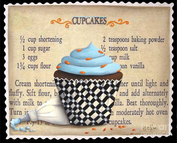 Folk Art Art Print featuring the painting Cupcake Masterpiece by Catherine Holman