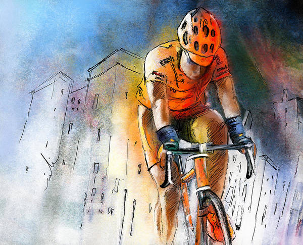 Sports Art Print featuring the painting Cycloscape 01 by Miki De Goodaboom