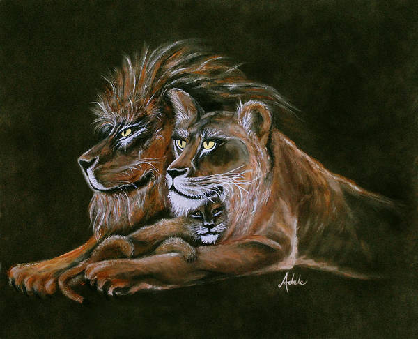 Lion Art Print featuring the painting Devotion by Adele Moscaritolo