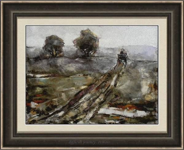 Landscape Art Print featuring the painting Difficult Journey Dj2 by Pemaro