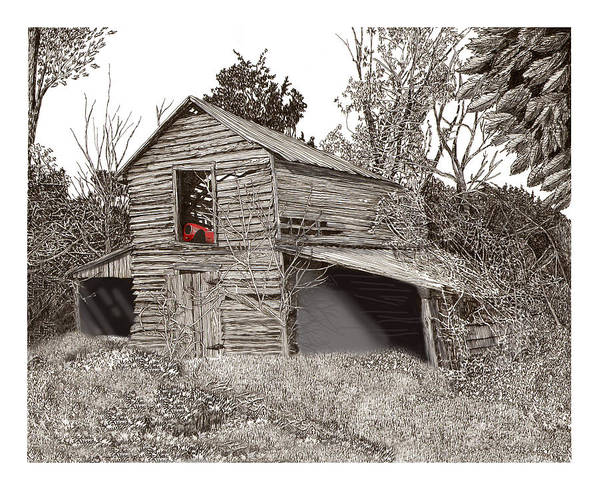 Selective Coloring Art Art Print featuring the drawing Empty Old Barn by Jack Pumphrey