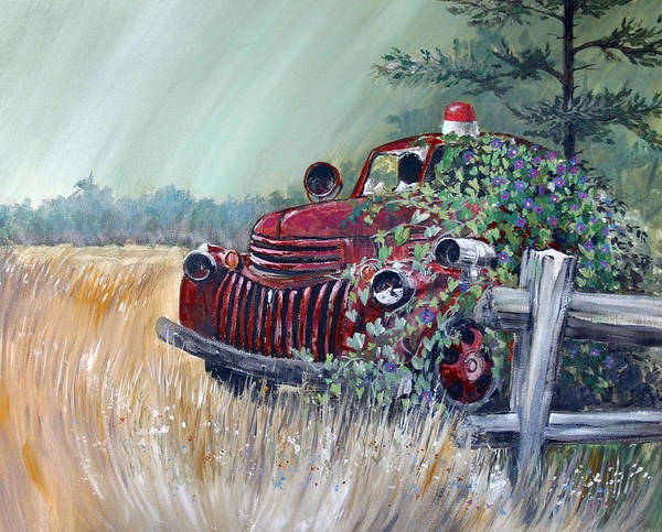 Firetruck Art Print featuring the painting Faded Glory by Gregory Peters