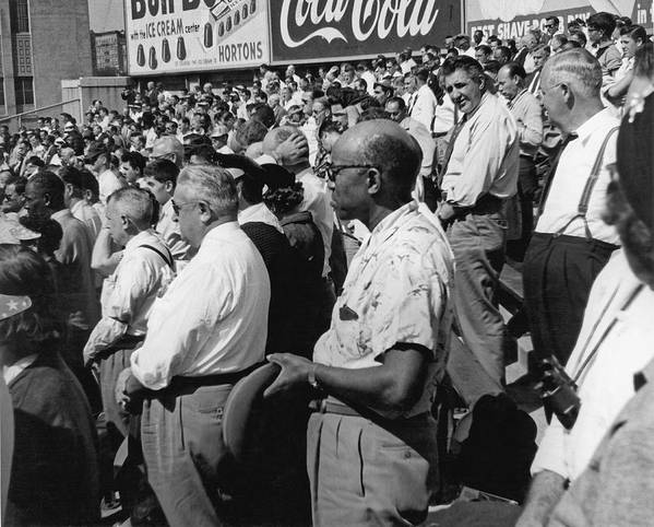 1955 Art Print featuring the photograph Fans At Yankee Stadium Stand For The National Anthem At The Star by Underwood Archives