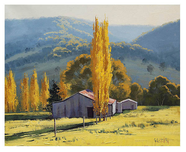 Farm Art Print featuring the painting Farm Sheds Painting by Graham Gercken