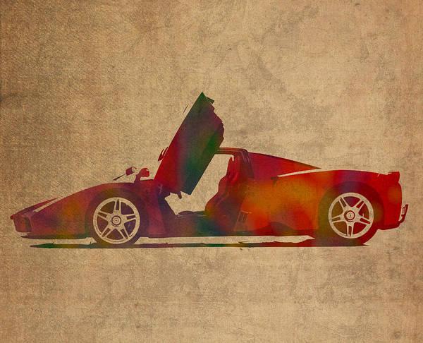 Ferrari Art Print featuring the mixed media Ferrari Enzo 2004 Classic Car Watercolor On Worn Distressed Canvas by Design Turnpike