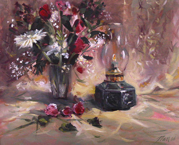 Flowers Art Print featuring the painting Flowers With Lantern by Nancy Griswold